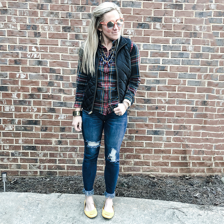 plaid top with a pop of color
