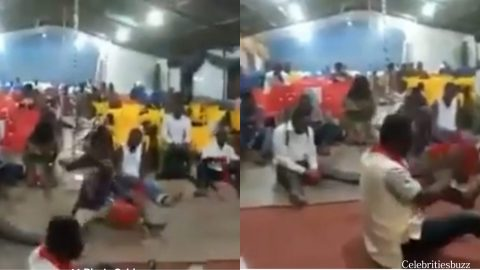 A video of church members fighting devil with cutlasses pops up.