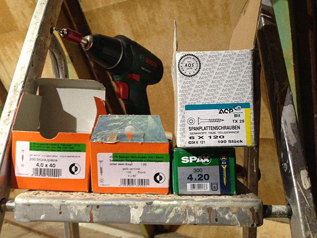 Schrauben-Sortiment zum Dachboden-Ausbau