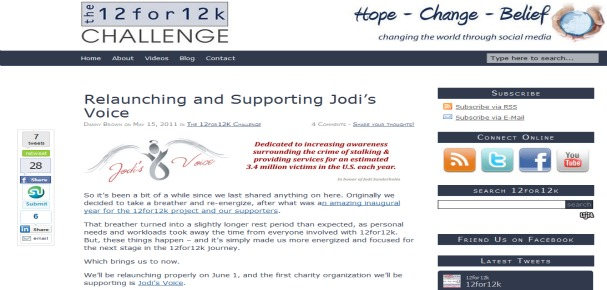 Relaunching 12for12k and Supporting Jodi's Voice