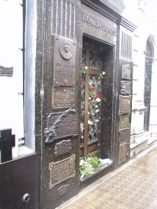 Evita's tomb, at which flowers are left daily by fans