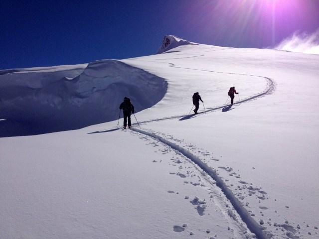 Skinning up Whirlwind Peak in great weather!