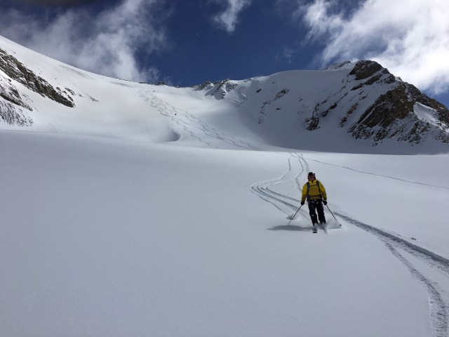 The ski descent from the Mount Olive North/South col