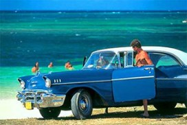 voiture bleue cubaine