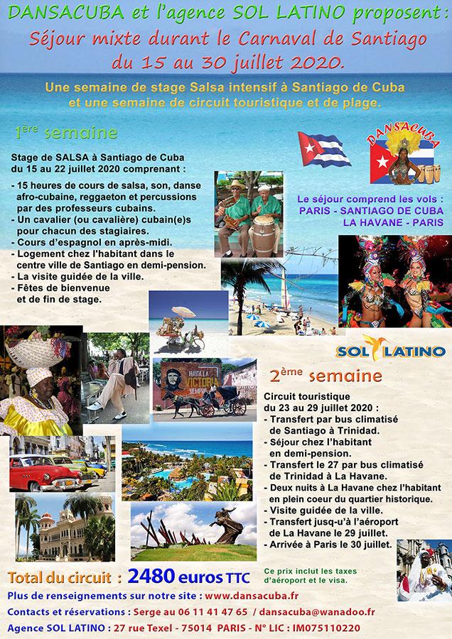 Dansacuba Stage Mixte 15 au 30 Juillet 2020 second départ