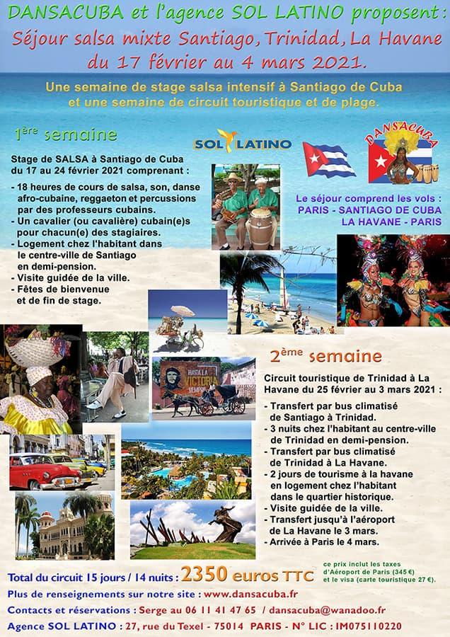 Dansacuba : Séjour Salsa mixte 17 février 2021