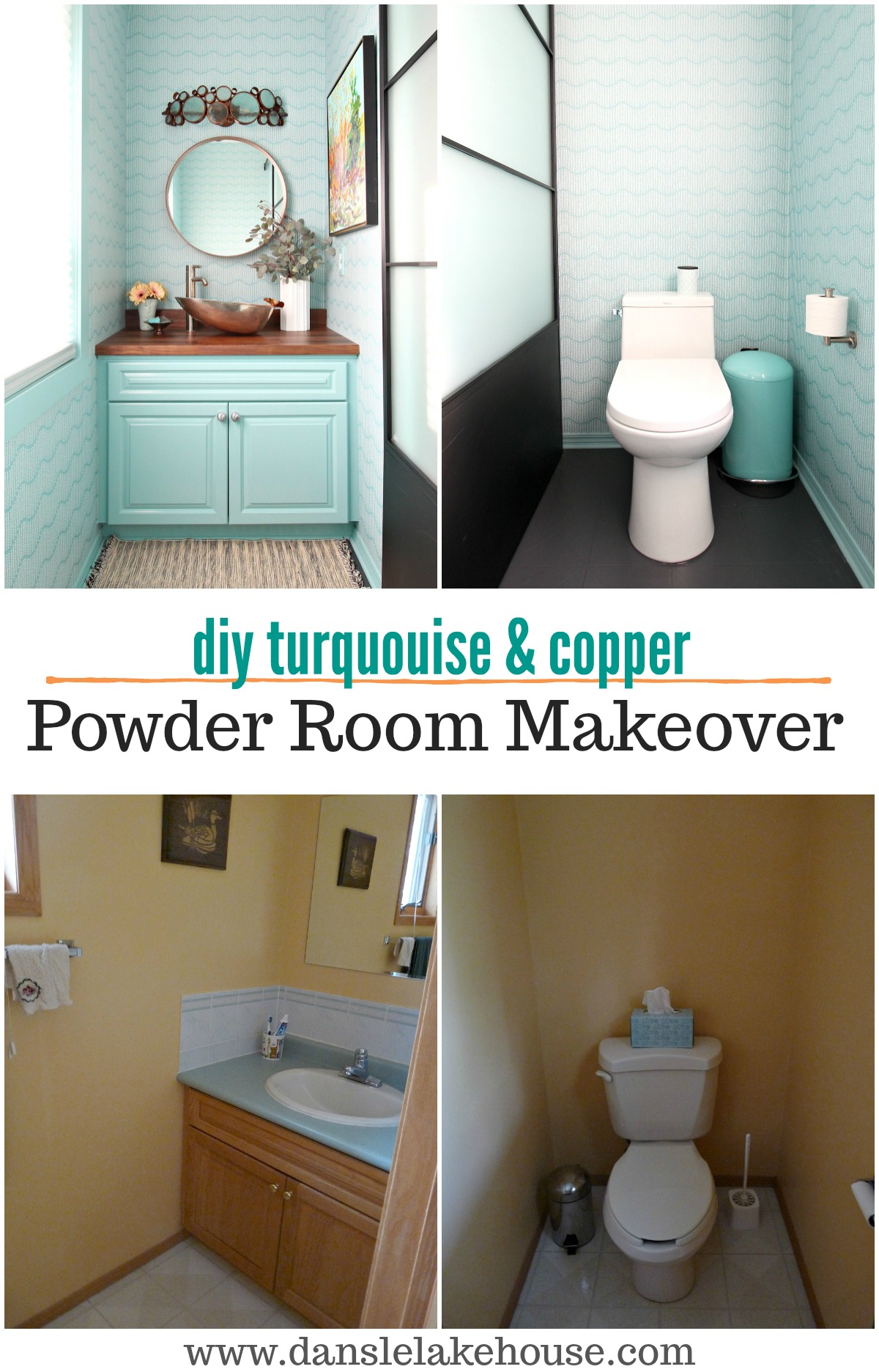 Copper & Turquoise DIY Powder Room Makeover