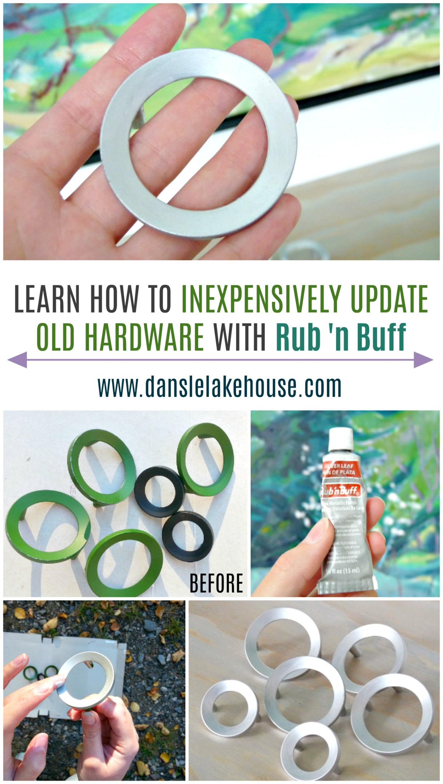 how to inexpensively update hardware using rub 'n buff. Transform the look of hardware! Budget-friendly update and great way to upcycle old hardware.