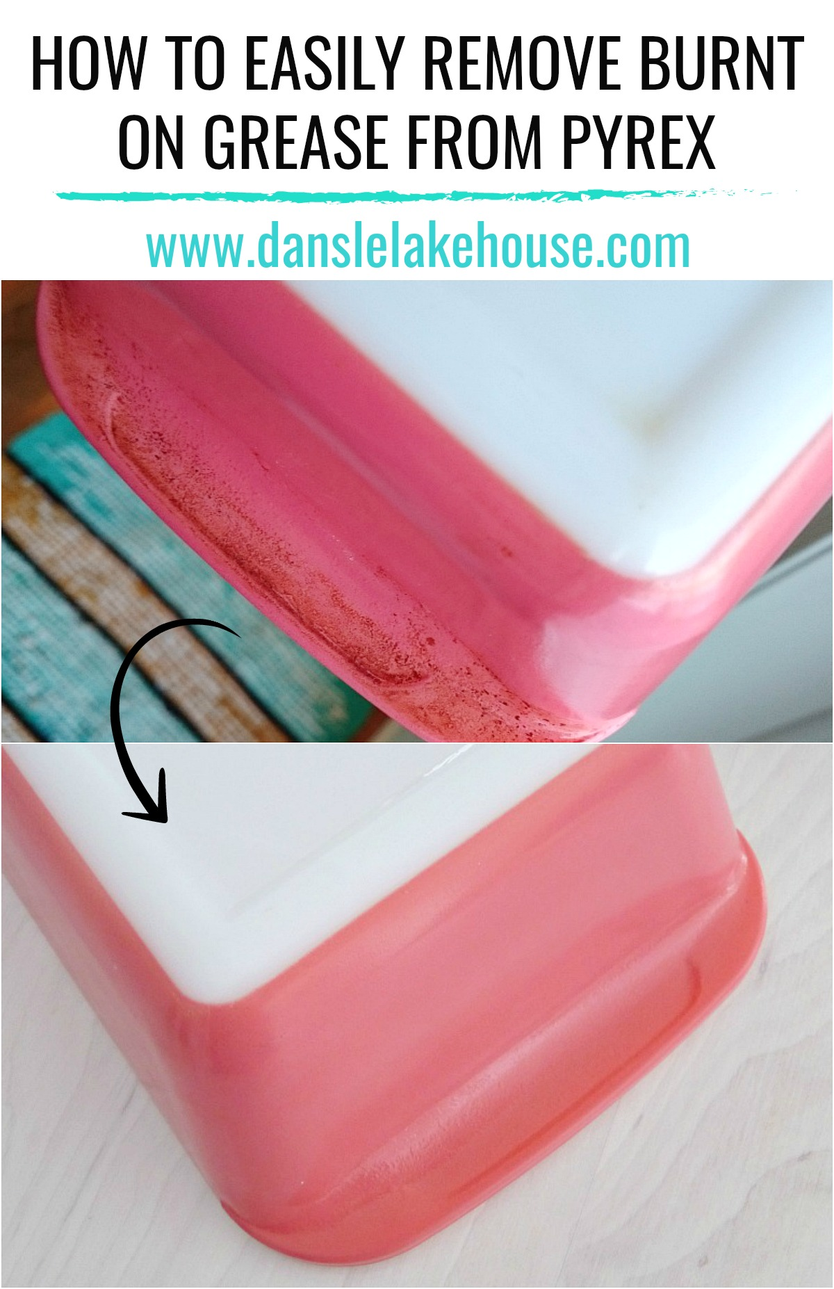 How to Clean Burnt on Grease from Pyrex. GREAT Pyrex Cleaning Tip - no scrubbing required. Plus Learn a Little History about Canadian Made Vintage Pyrex #cleaningpyrex #vintagepyrex #pinkpyrex