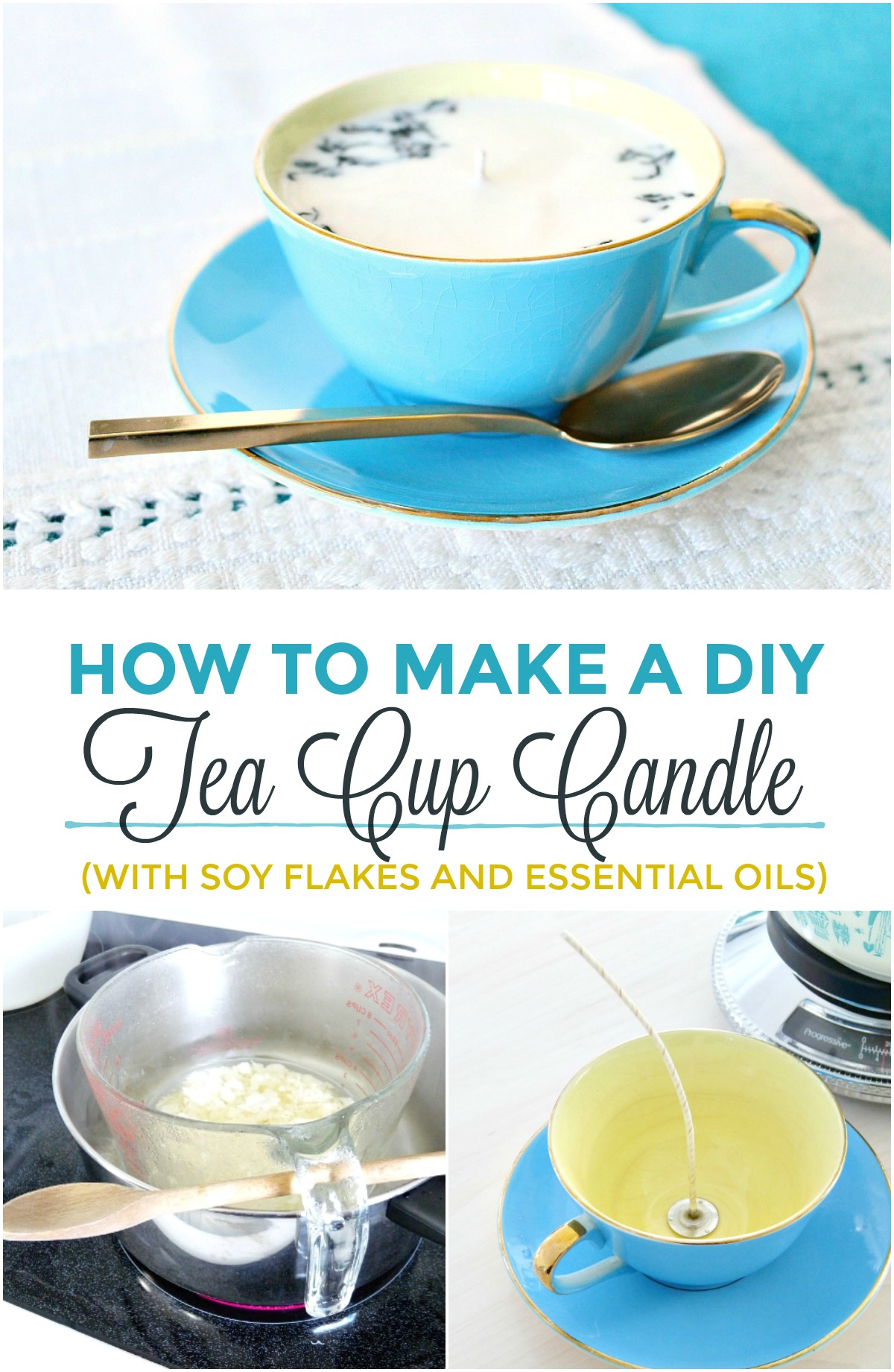 How to Make a DIY Tea Cup Candle with Soy Flakes and Essential Oil. DIY Earl Grey Tea Cup Candle in Upcycled Tea Cup. #diycandle #teacupcandle #upcycledcrafts