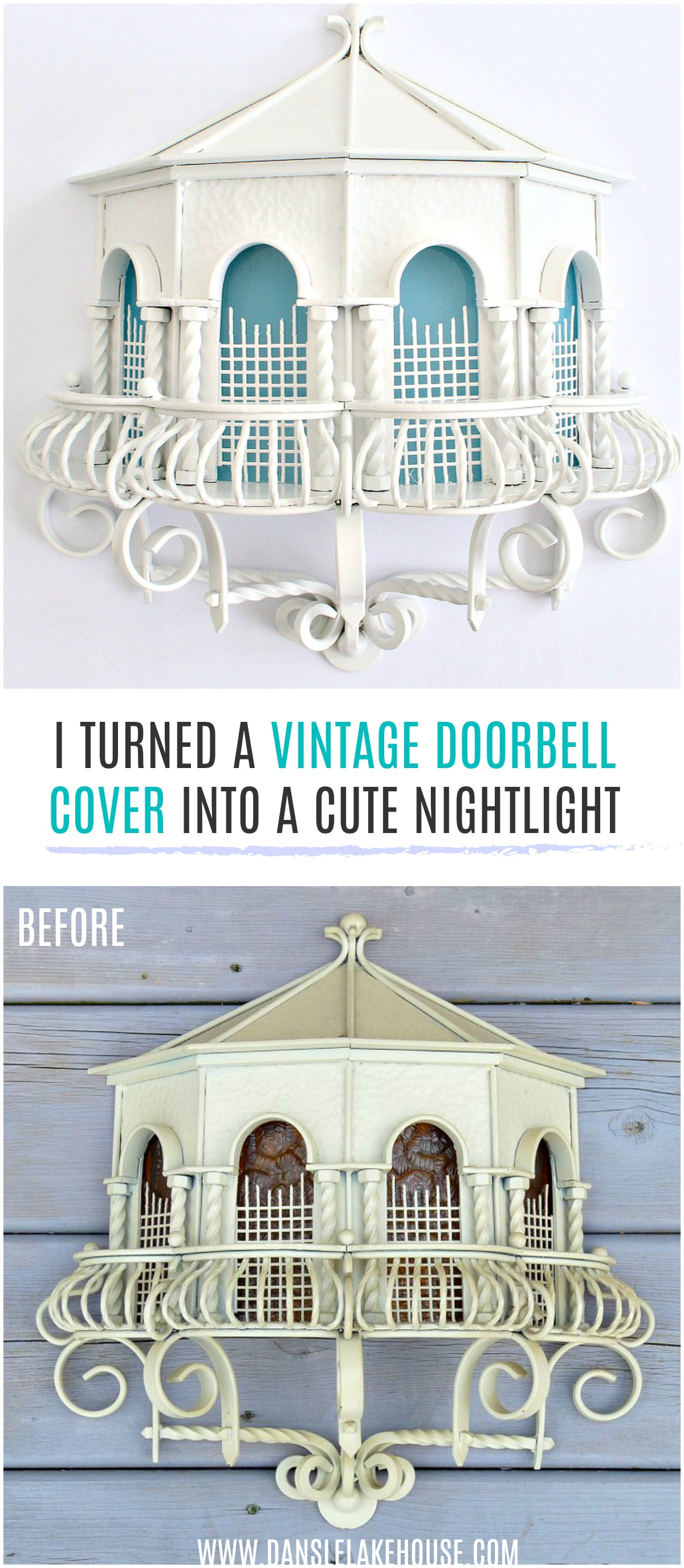"""I turned a vintage doorbell cover into a cute nightlight after I gave it a more modern """"makeover"""". #upcycling #vintage #diy"""