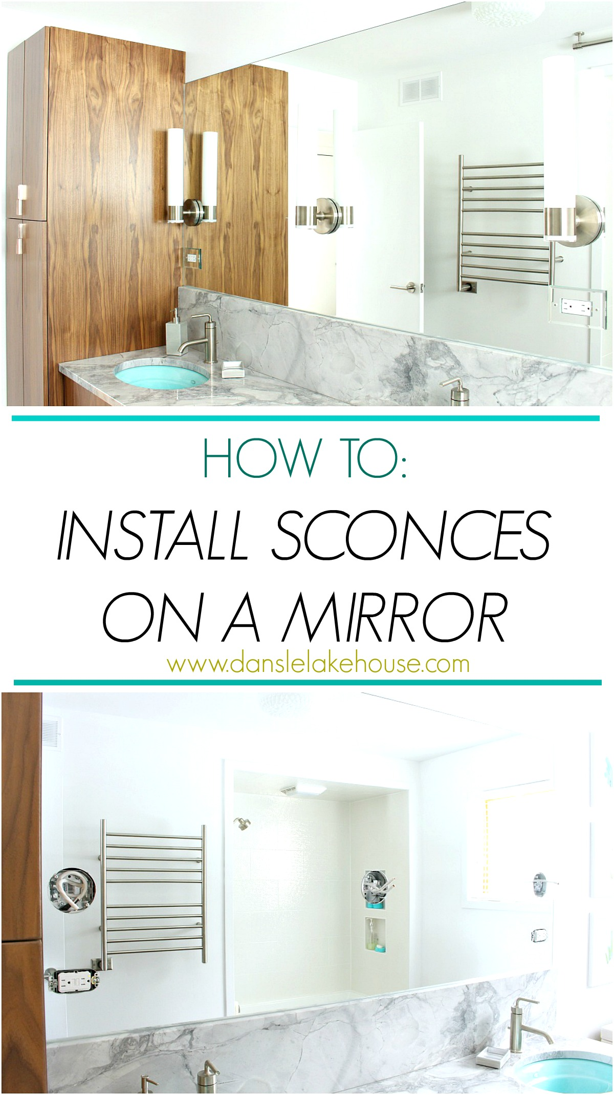 How to install sconces on a mirror - small bathroom hack! Catch other bathroom renovation ideas on Dans le Lakehouse