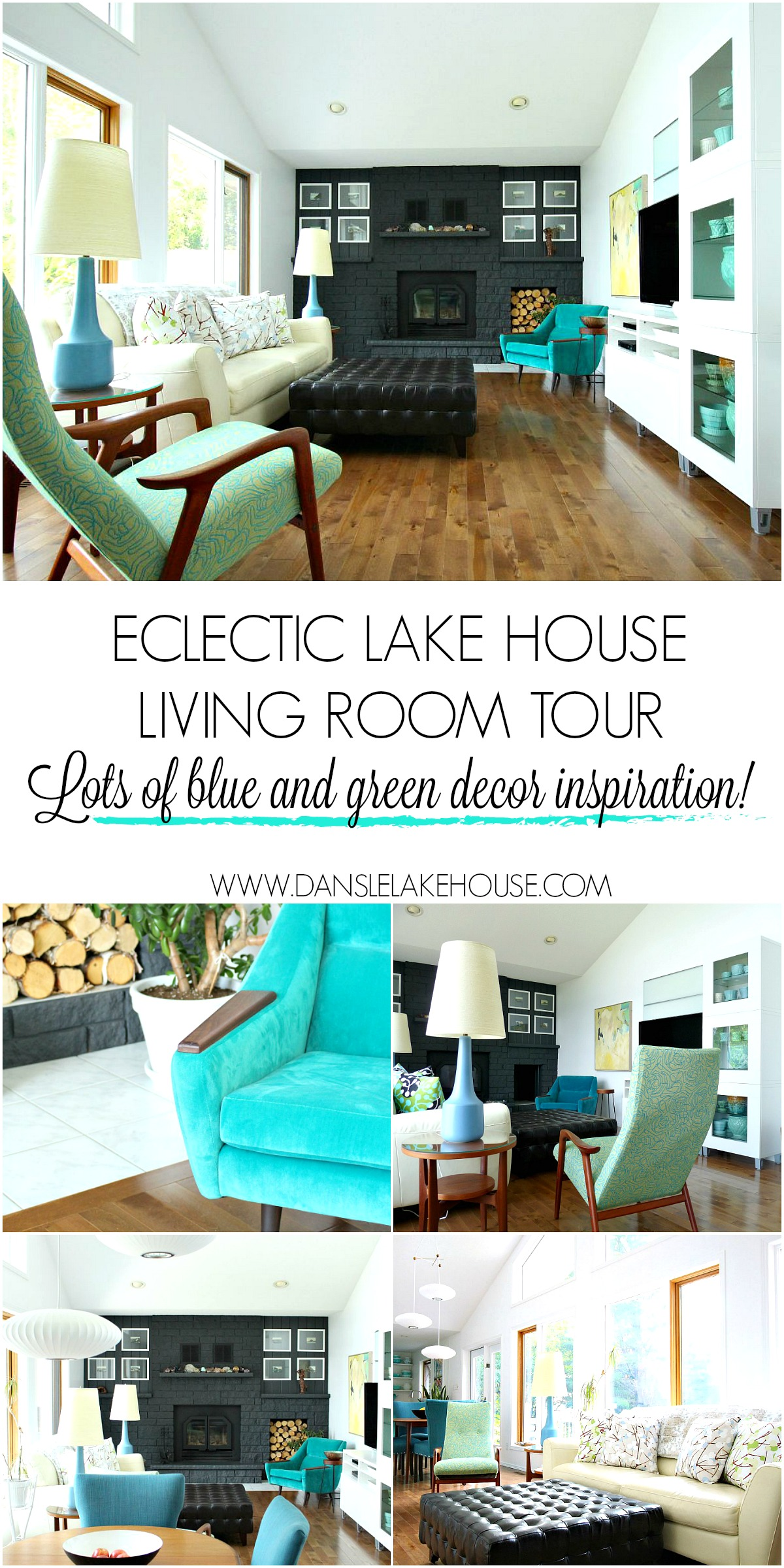 Lake house living room tour with lots of blue and green home decor inspiration. See an eclectic mix of mid-century modern, contemporary and budget-friendly furniture with lots of DIY projects hack!