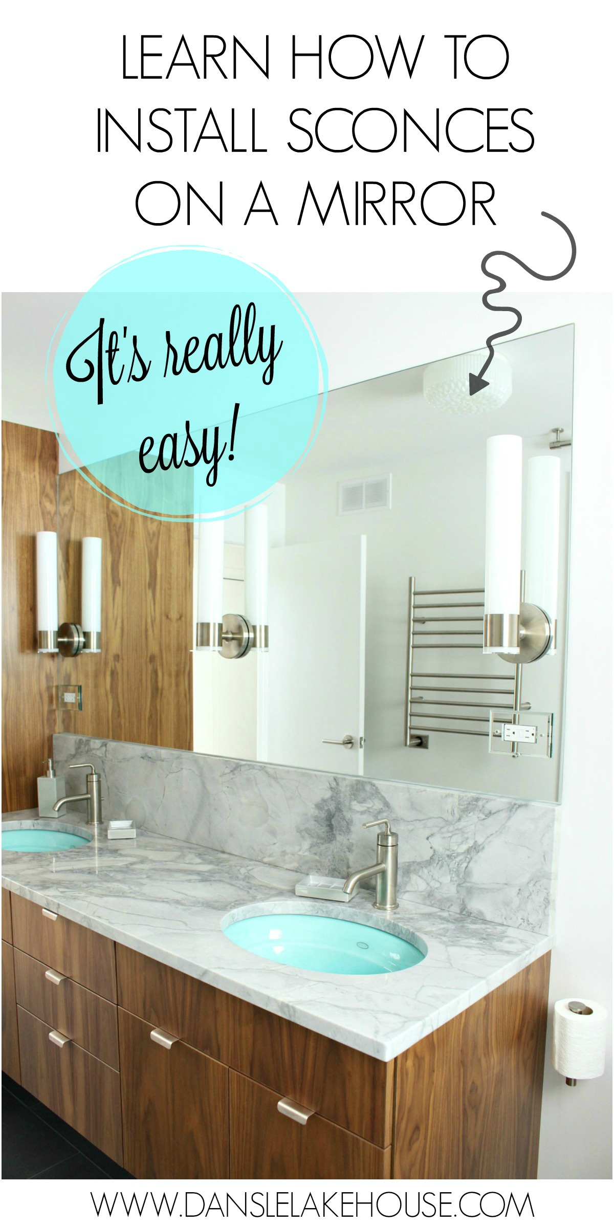 How to install sconces on a mirror - and see the rest of this modern bathroom renovation unfold | Dans le Lakehouse #bathroonreno #sconces #kohlerpurist
