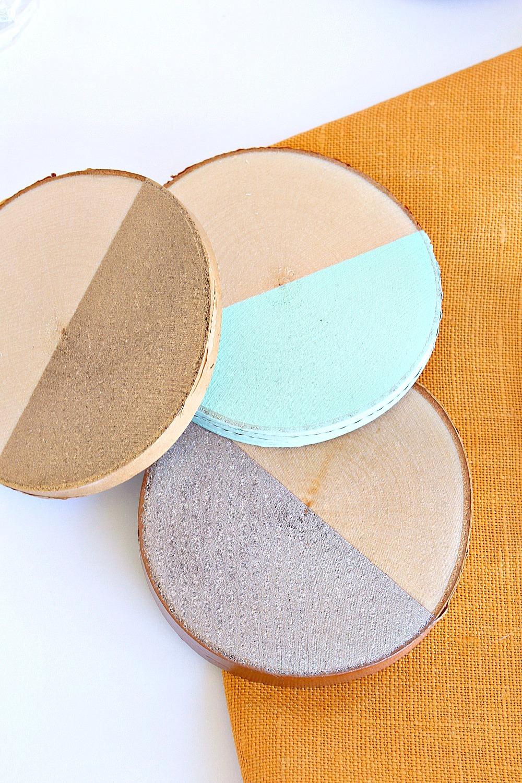 Dipped DIY Birch Slice Coasters