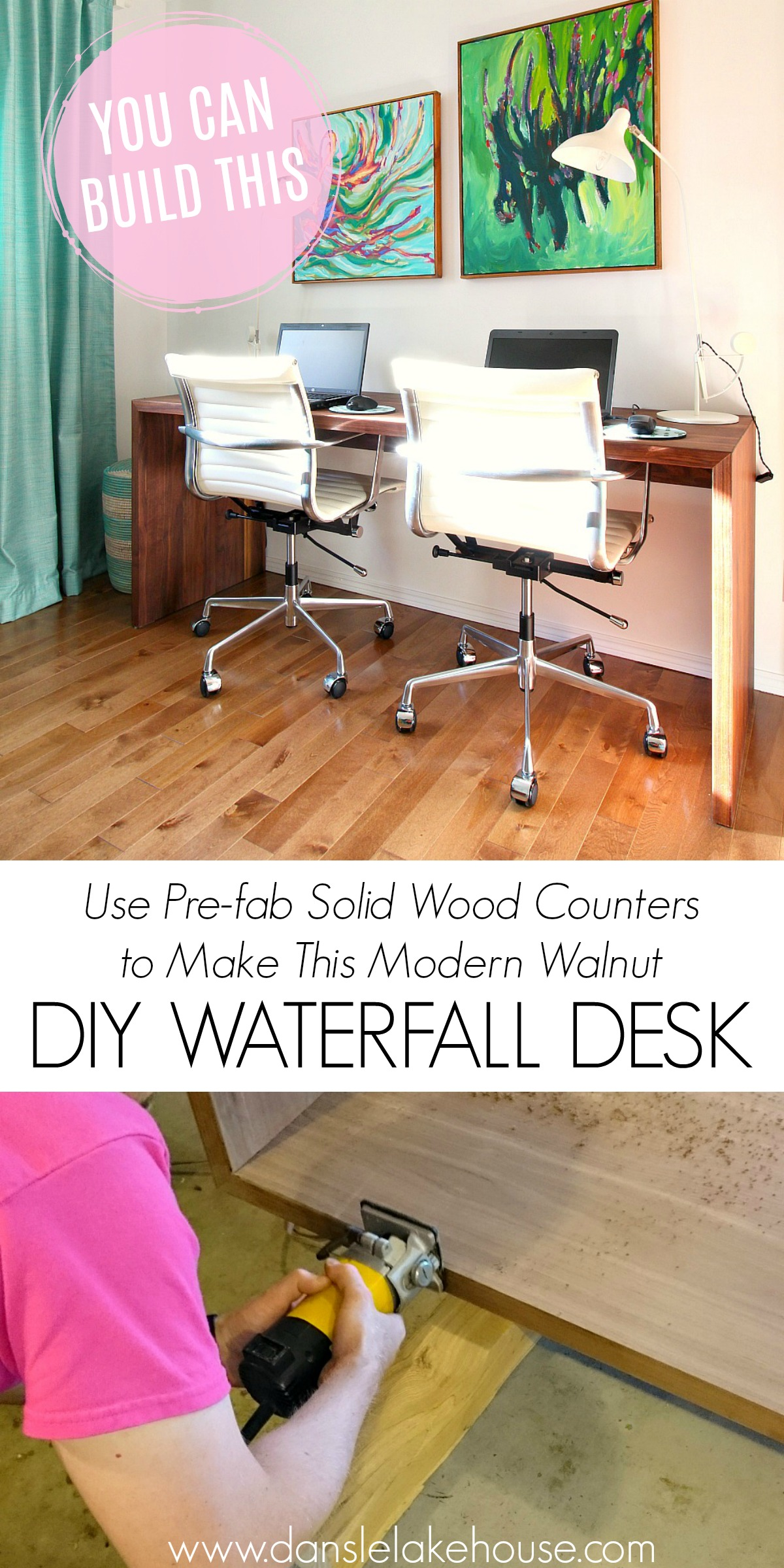 Learn How to Build This Solid Walnut DIY Waterfall Desk for Two | Dans le Lakehouse #workspace #woodworking #diyfurniture #walnut