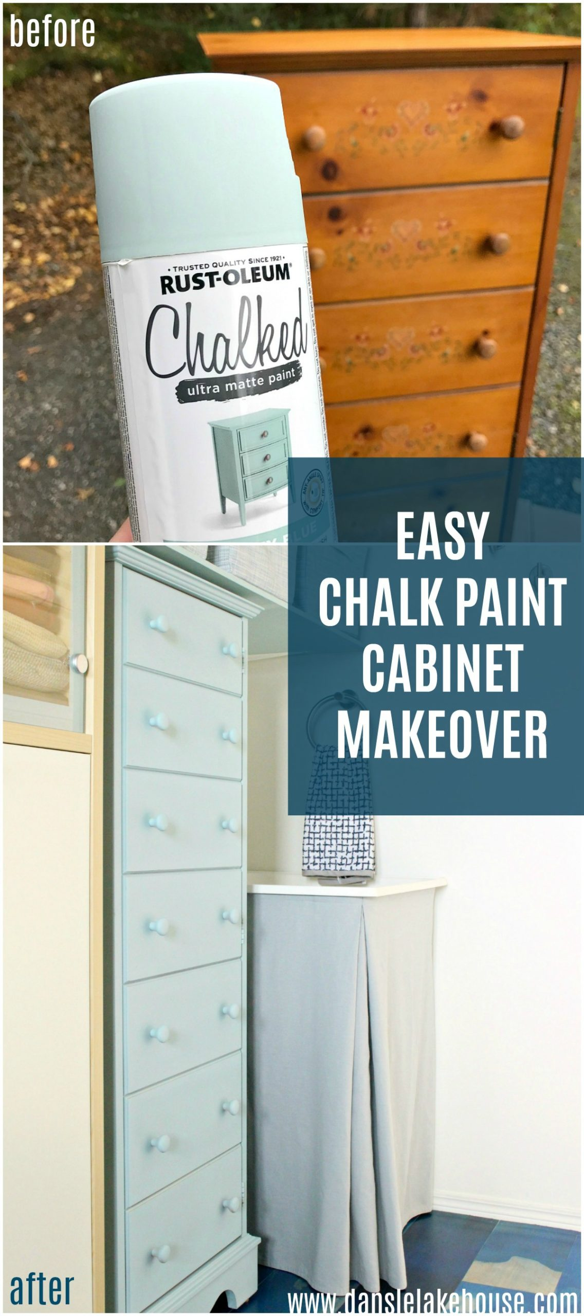 Easy DIY chalk paint cabinet makeover