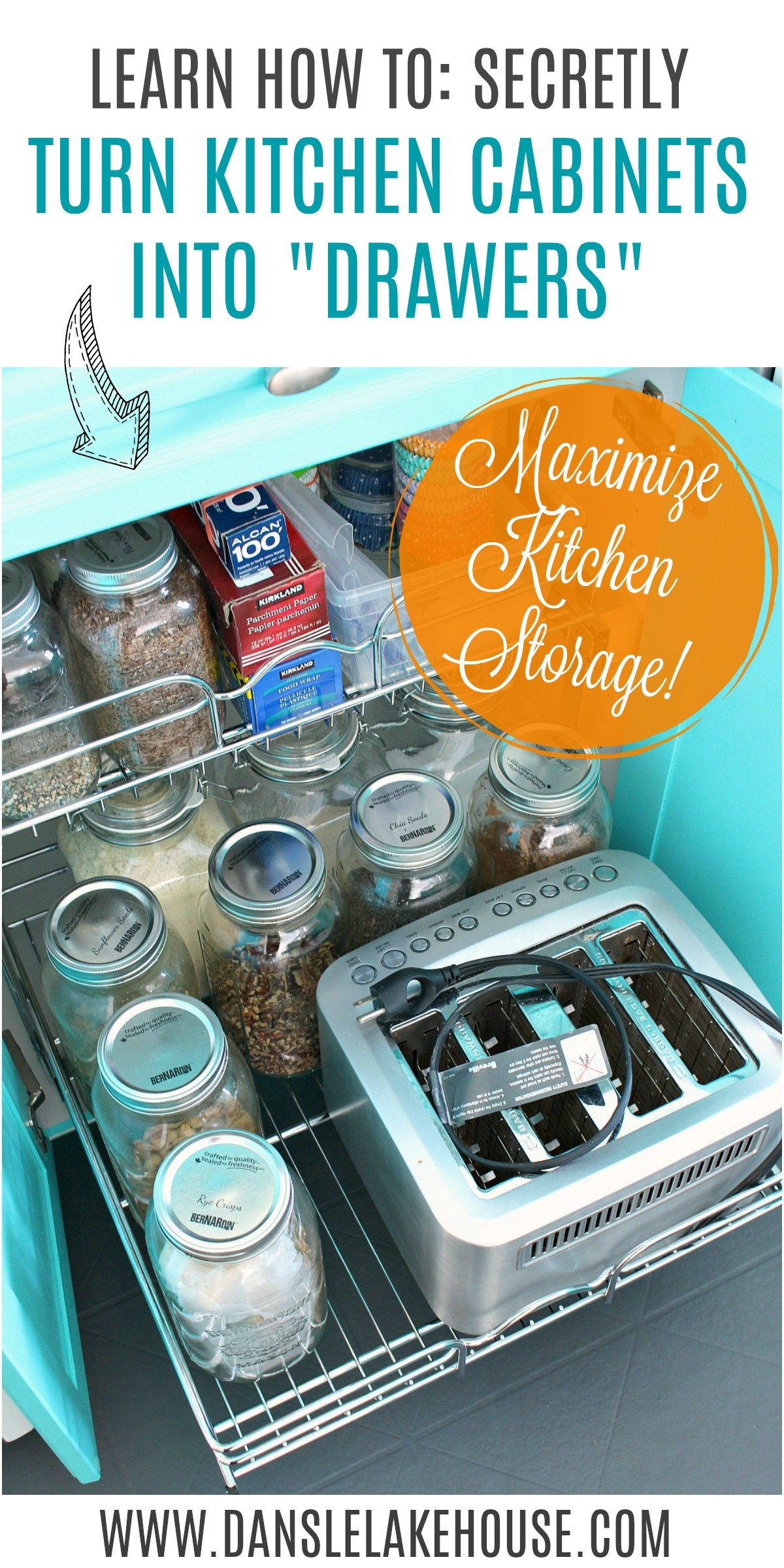 """MAXIMIZE SMALL KITCHEN STORAGE: learn how to turn kitchen cabinets into """"drawers"""" and other great tips and tricks for small kitchen storage. #organizing #smallspaces #smallkitchen #kitchenstorage #kitchenhacks"""