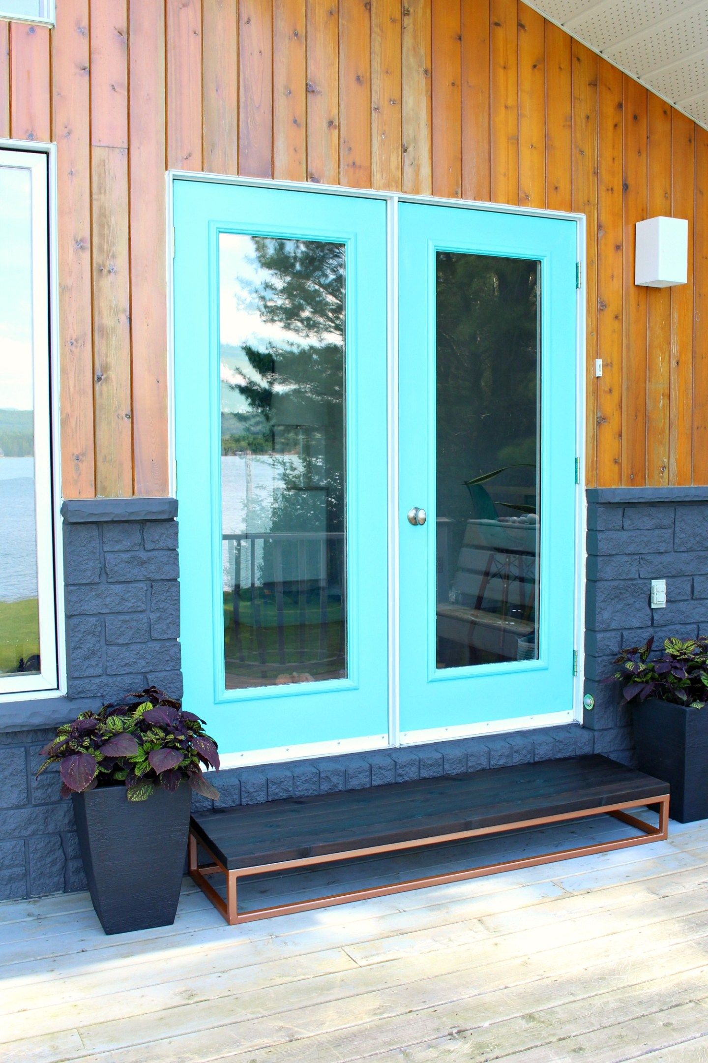 Patio Door Makeover with Aqua Doors and Dark Grey Siding