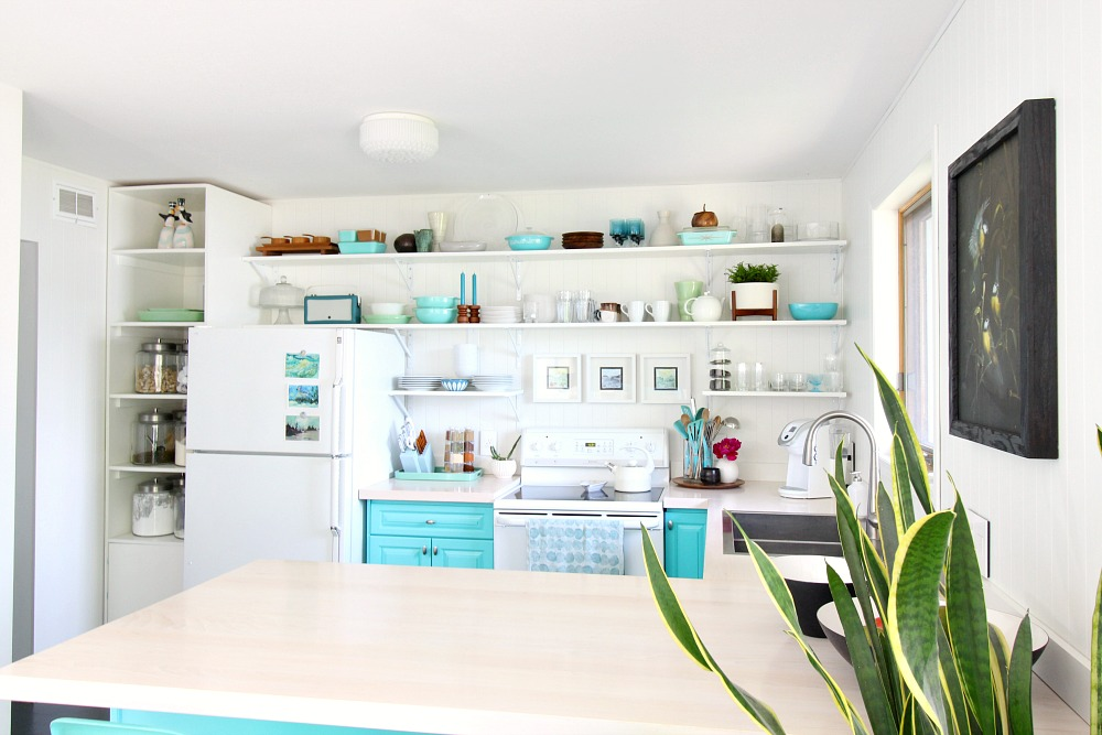 Turquoise Kitchen with Eclectic Style