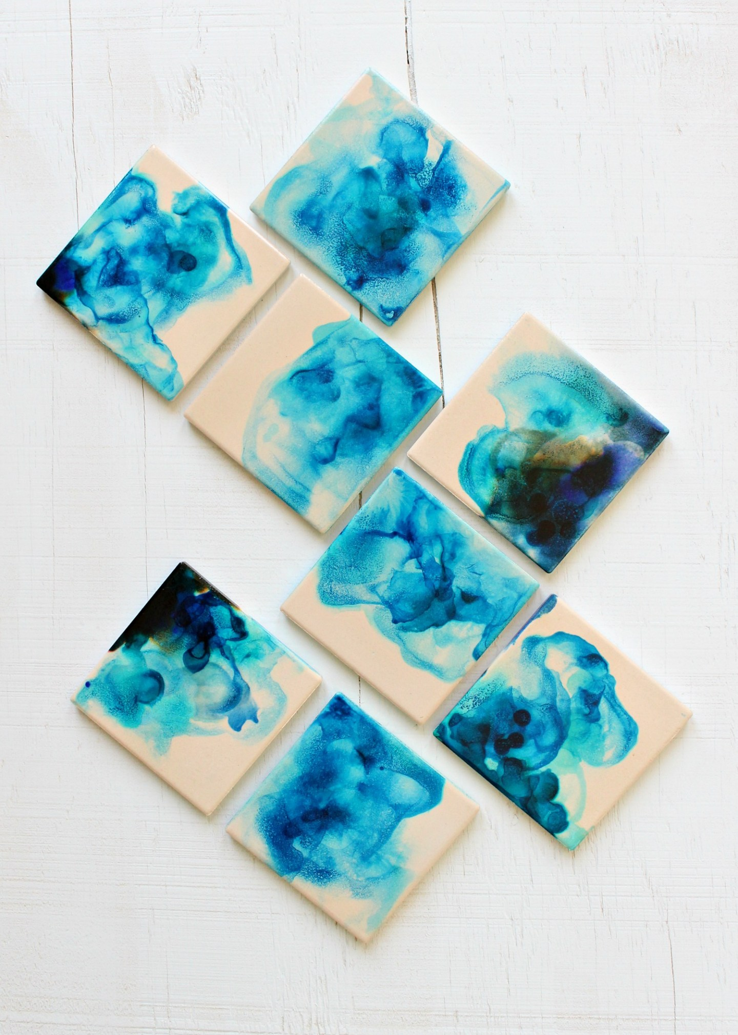 Easy Watercolor Coasters Using Alcohol Inks