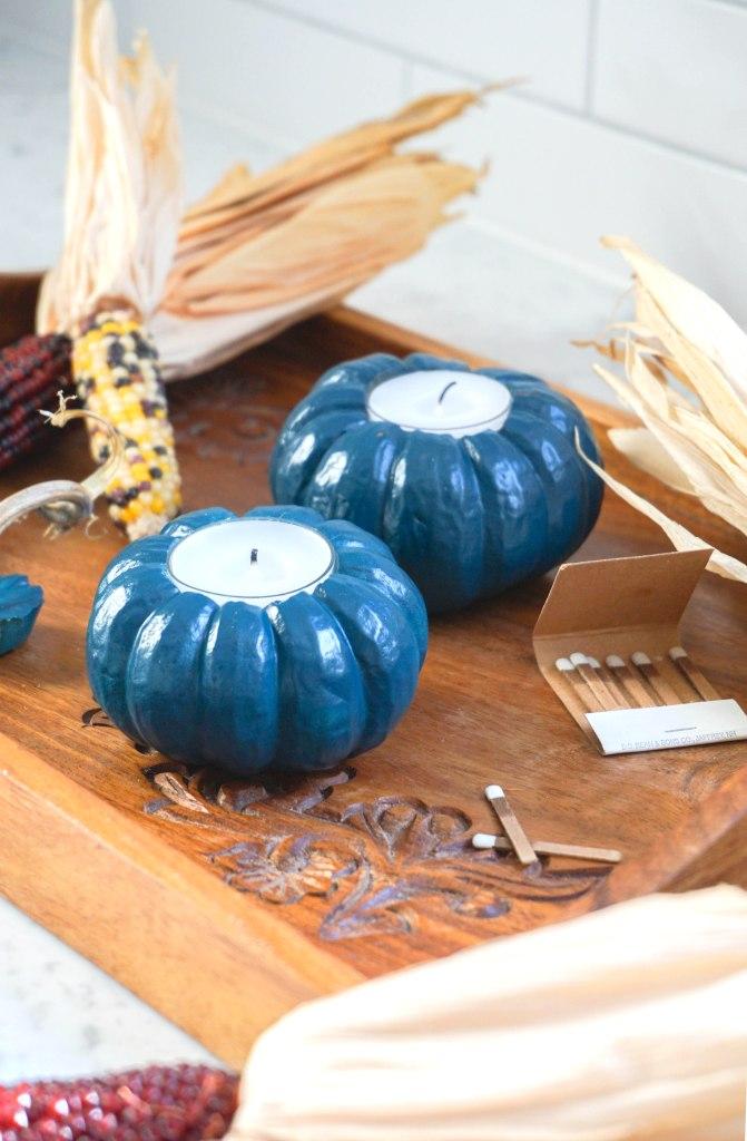 DIY Pumpkin Votive Holders