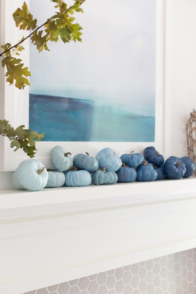 Blue Ombre Pumpkins Coastal Fall Decor