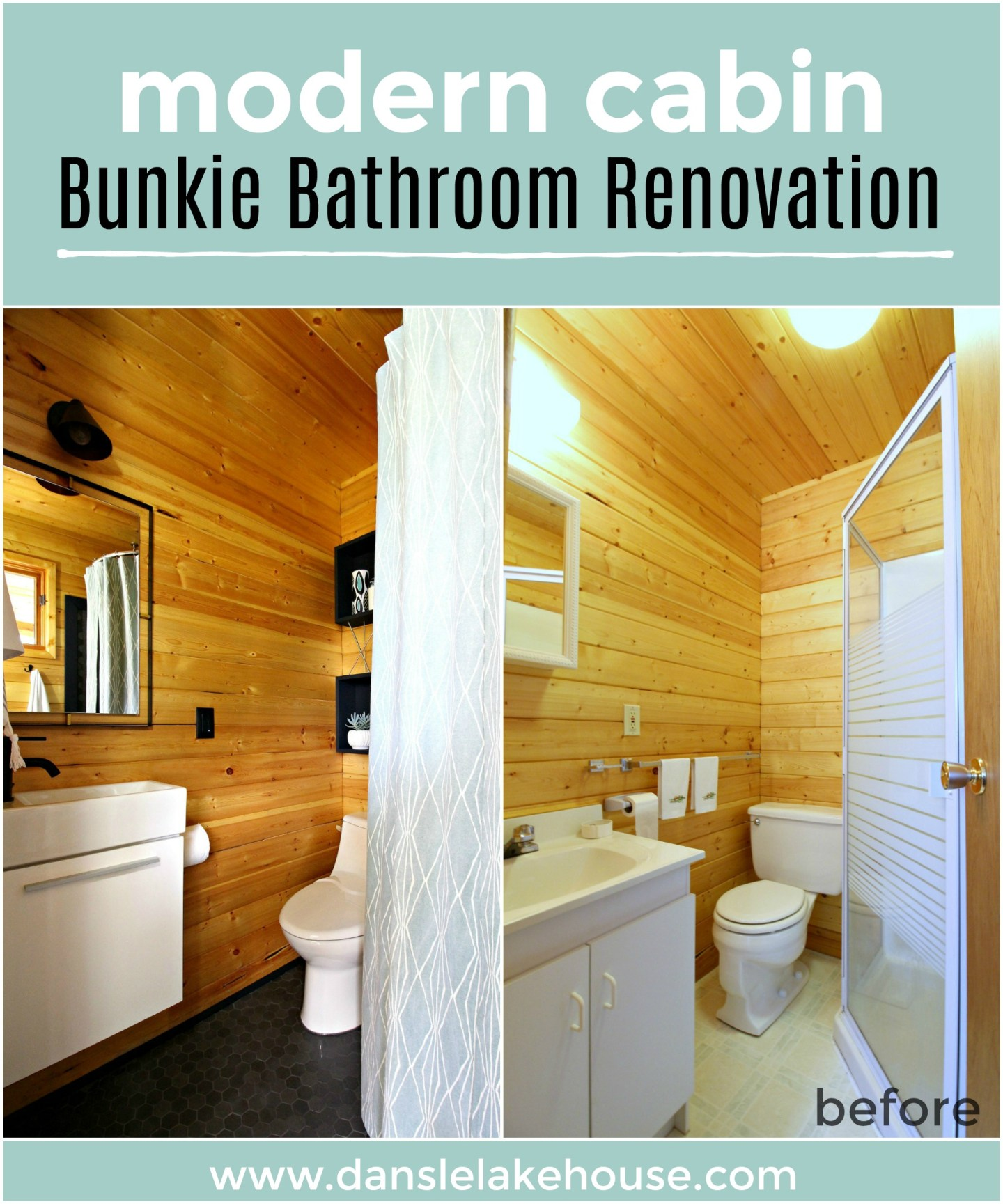 Modern Cabin Bunkie Bathroom Renovation with Stock Tank Shower and Pine Walls