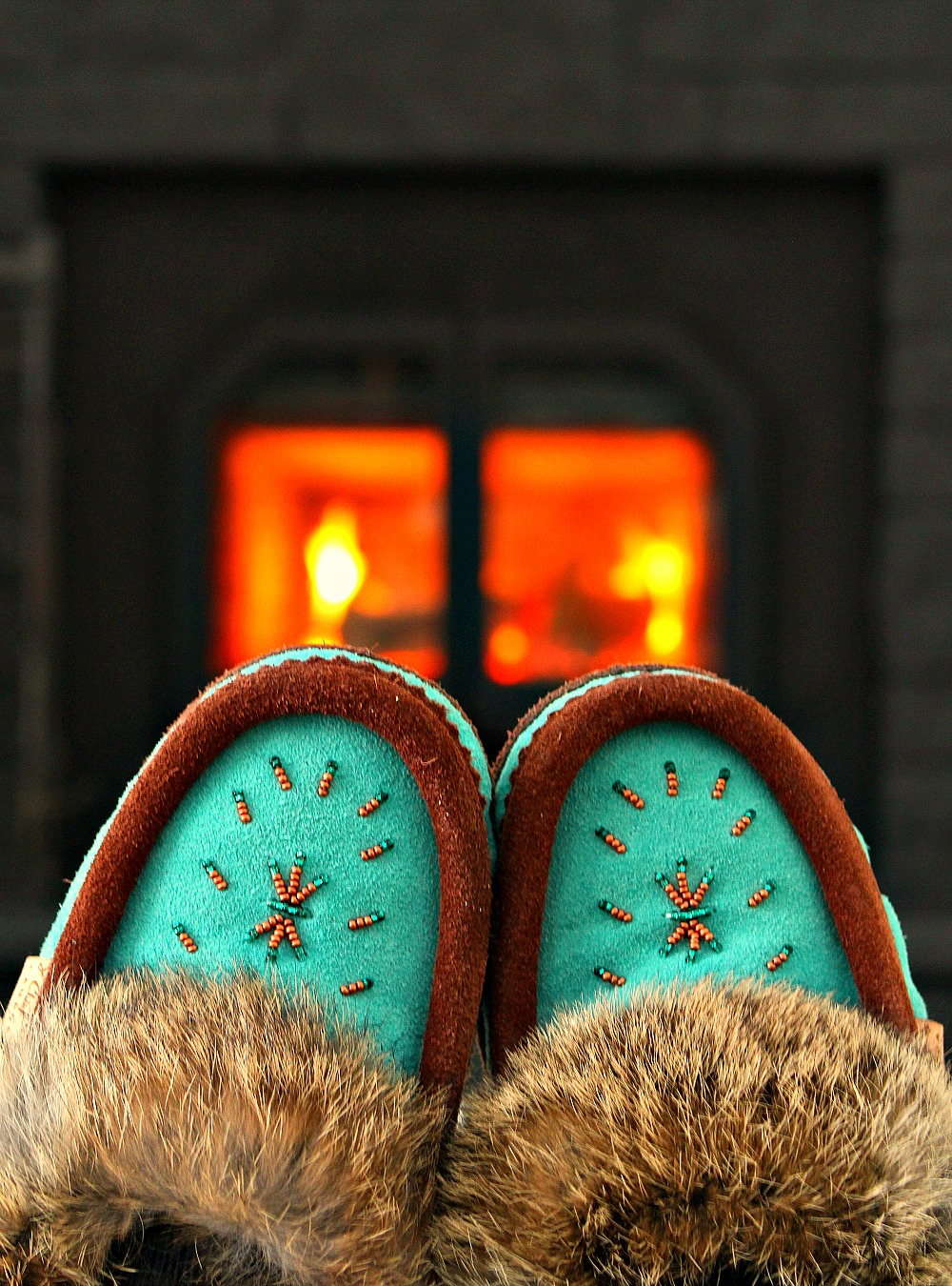 Turquoise Suede Moccassins