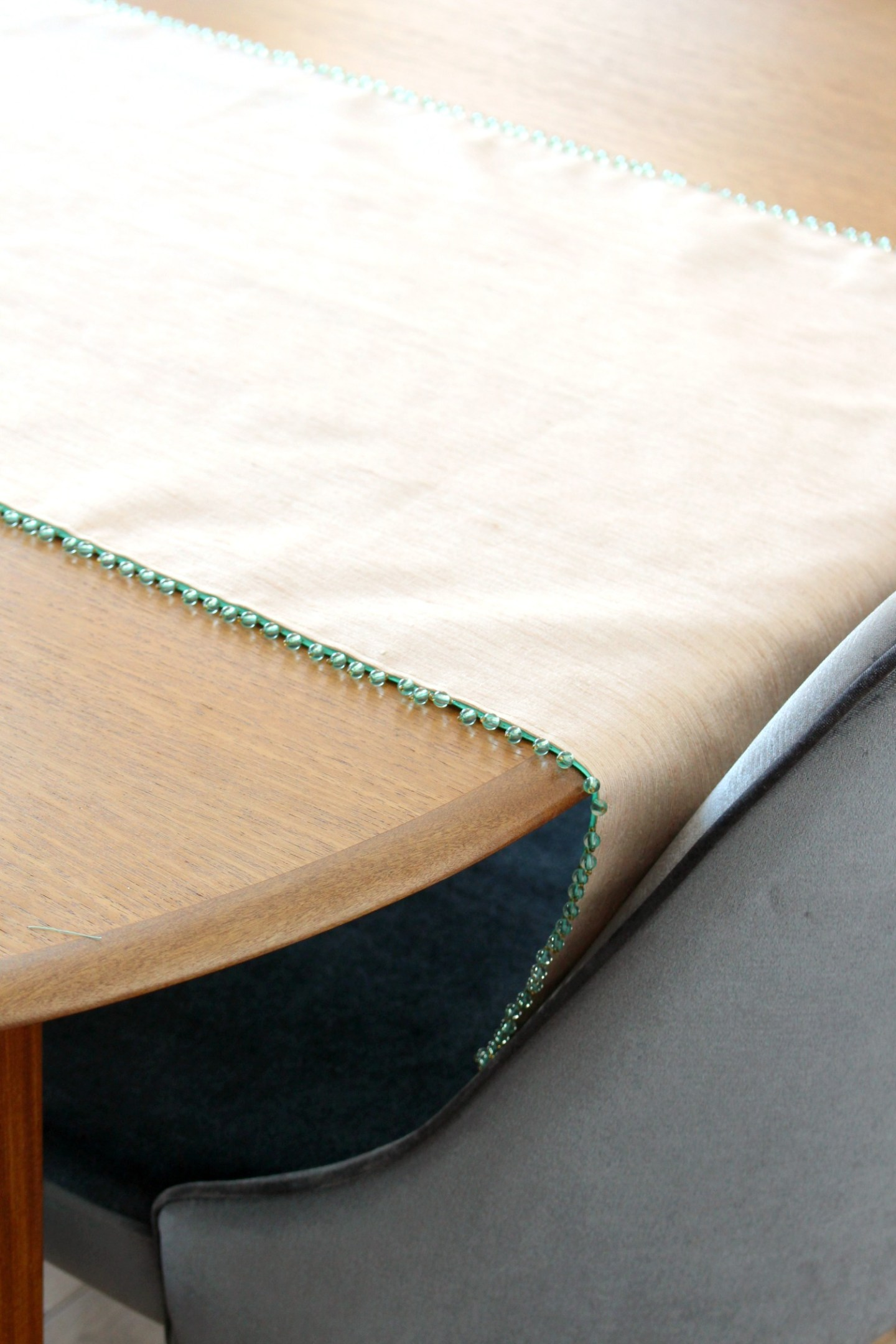 DIY Table Runner with Beaded Trim
