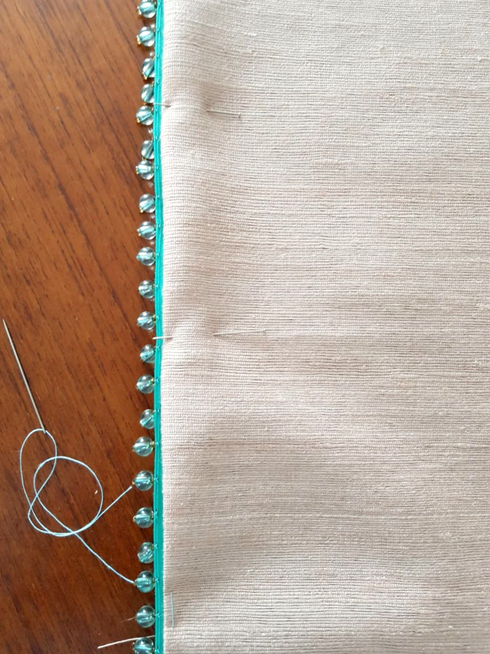 DIY Table Runner with Beaded Trim - Tips for Sewing on Beaded Trim
