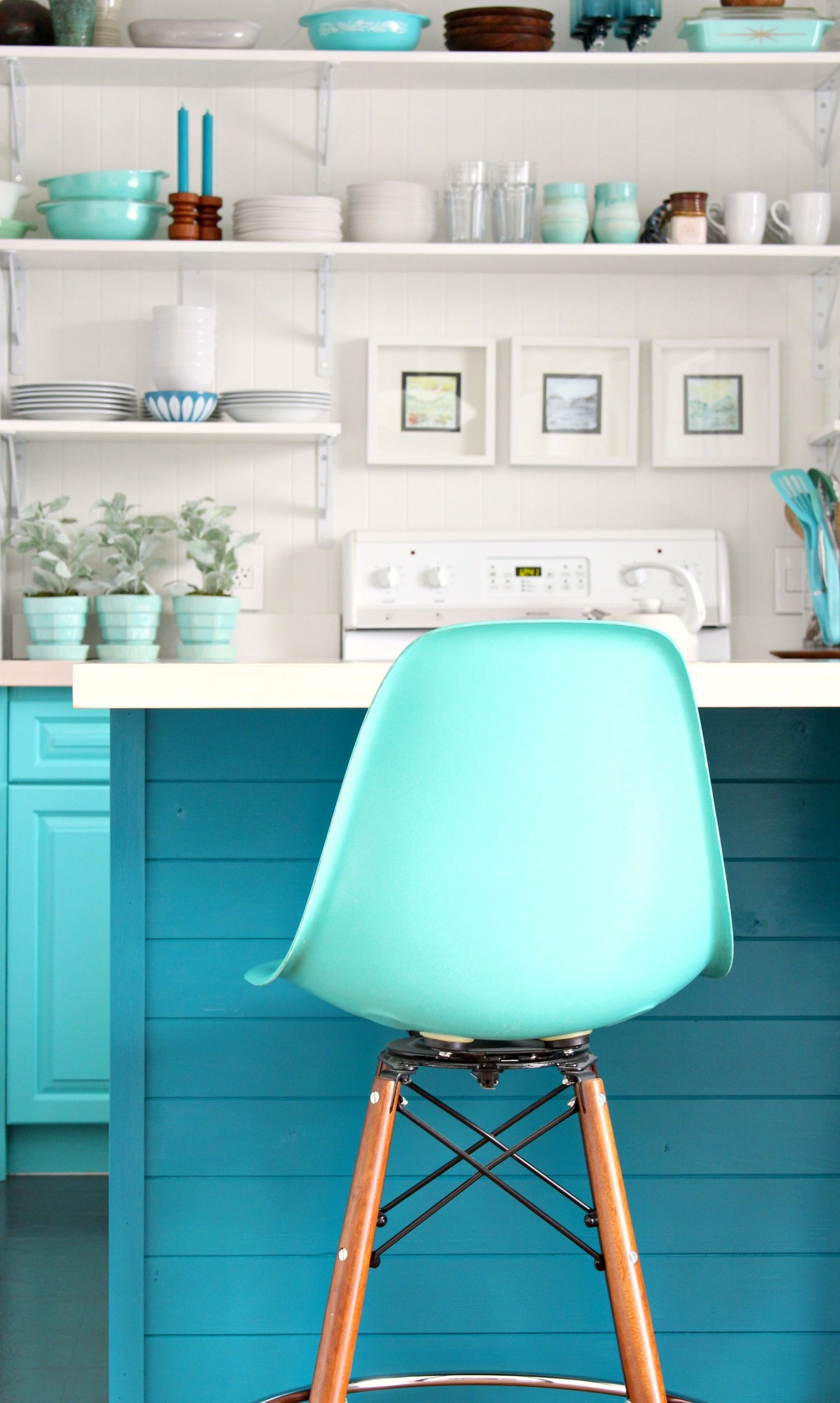 How to Install Tongue and Groove Paneling on Kitchen Cabinets (+ New Teal Cabinet Color!)