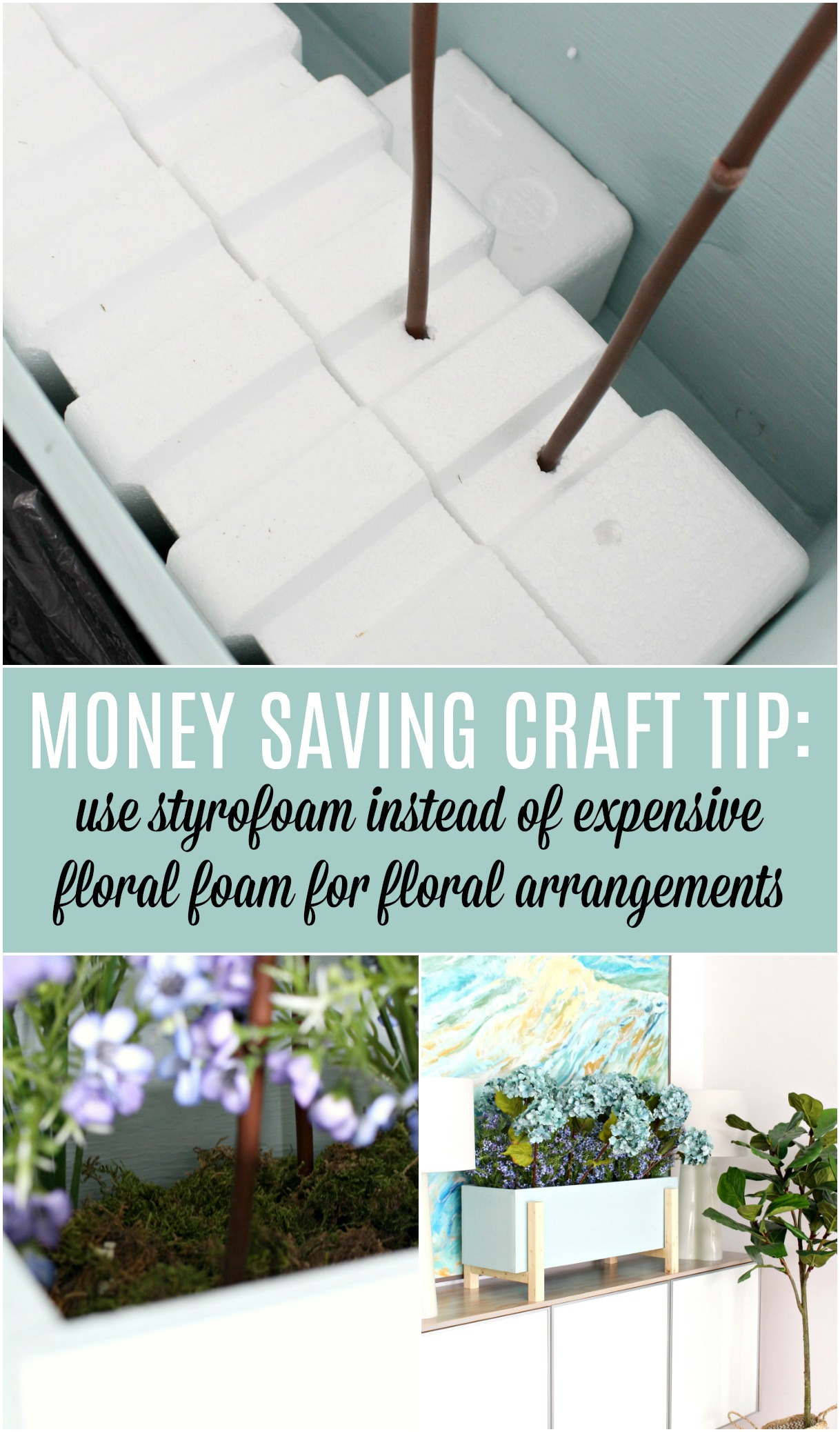 Money Saving Craft Tip: Use Styrofoam Instead of Expensive Floral Foam and Then Cover with Dollar Store Moss - Great Upcycle Idea! Save Money on Crafts, and Help the Planet Too! #savingmoney #moneysavingcrafts #moneysavingtips #crafttips #floralarrangement