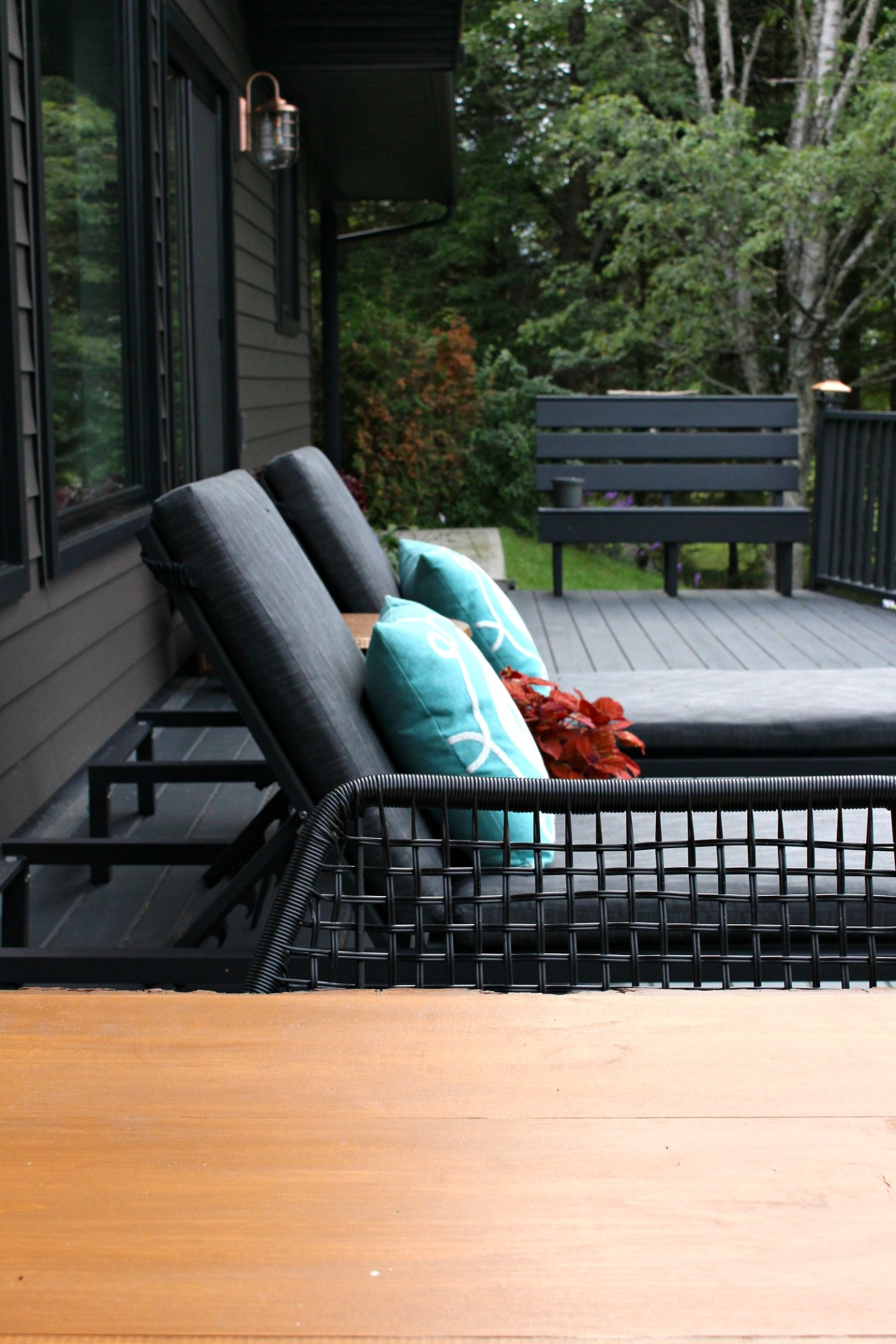 Black Patio Decor and Chestnut Stained DIY Live Edge Wood Table