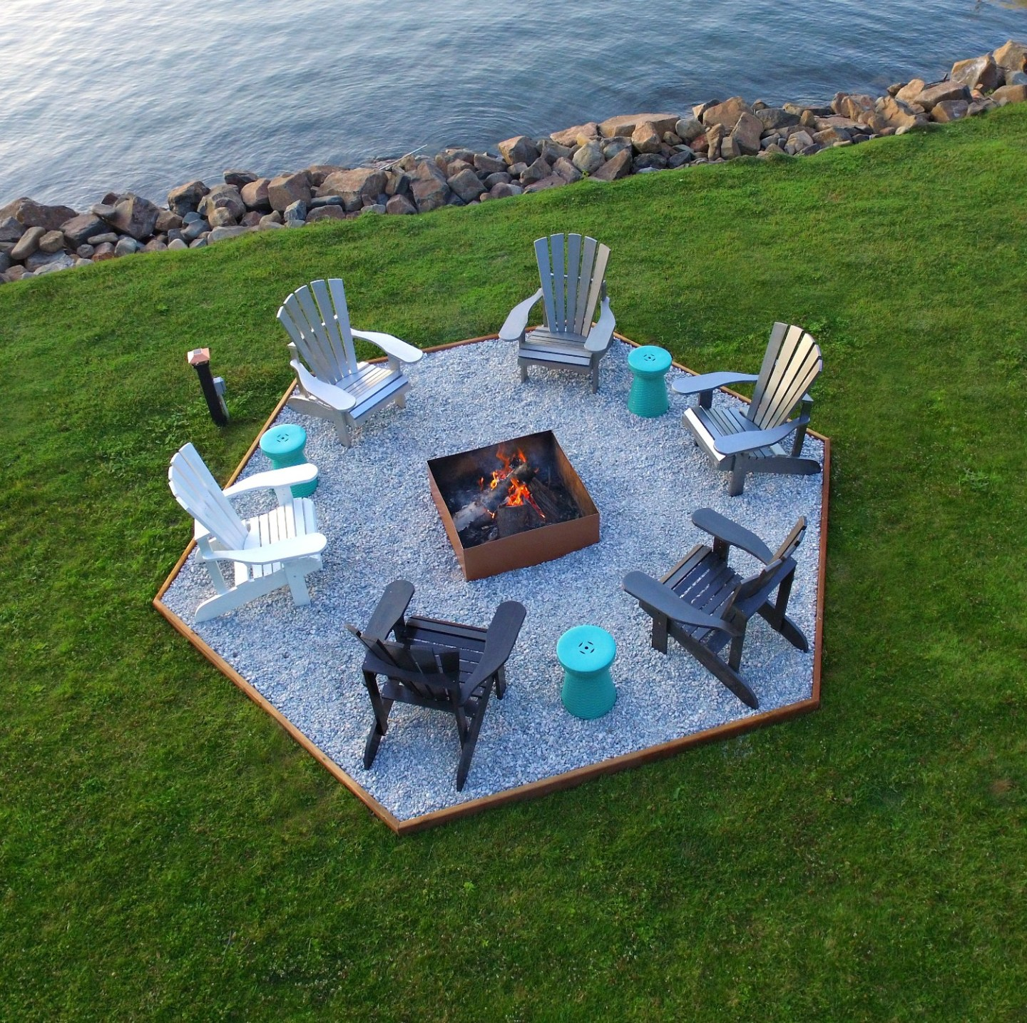 Modern Cottage Fire Pit Makeover + DIY Ombre Adirondack Chairs (Sponsored by The Home Depot Canada)