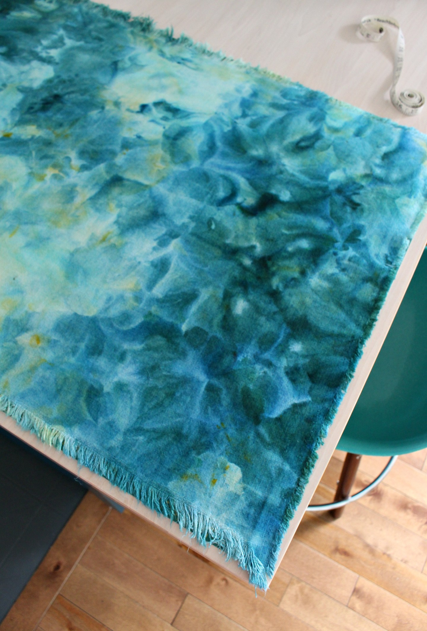 DIY Ice Dyed Fabric in Teal