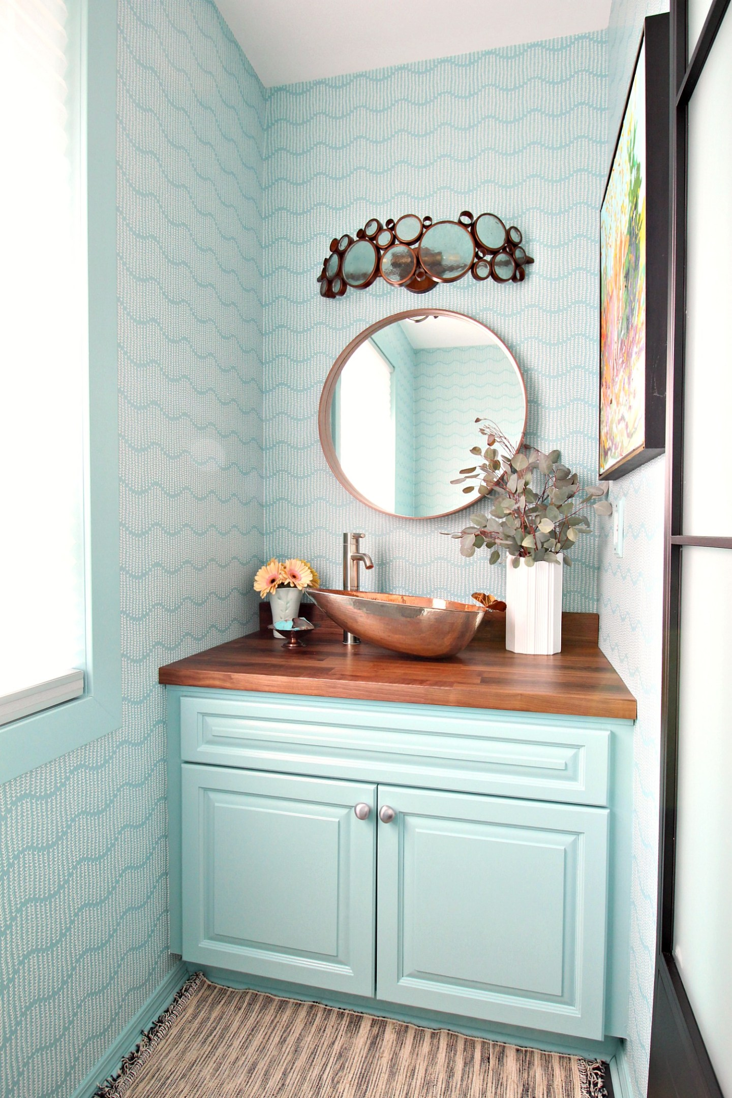 Turquoise and Copper Powder Room Makeover REVEAL | Handmade Copper Sink, Sprigs on Ocean Wallpaper, Walnut Counters, Colorful DIY Bathroom Makeover Before + After