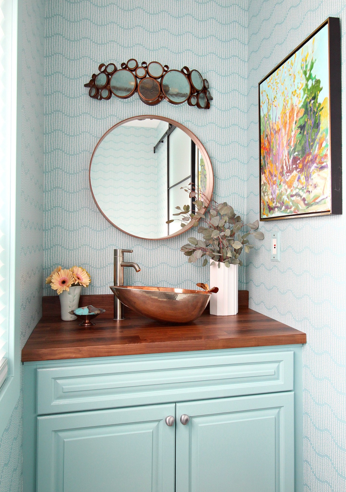 Glam and Colorful Turquoise Powder Room Design