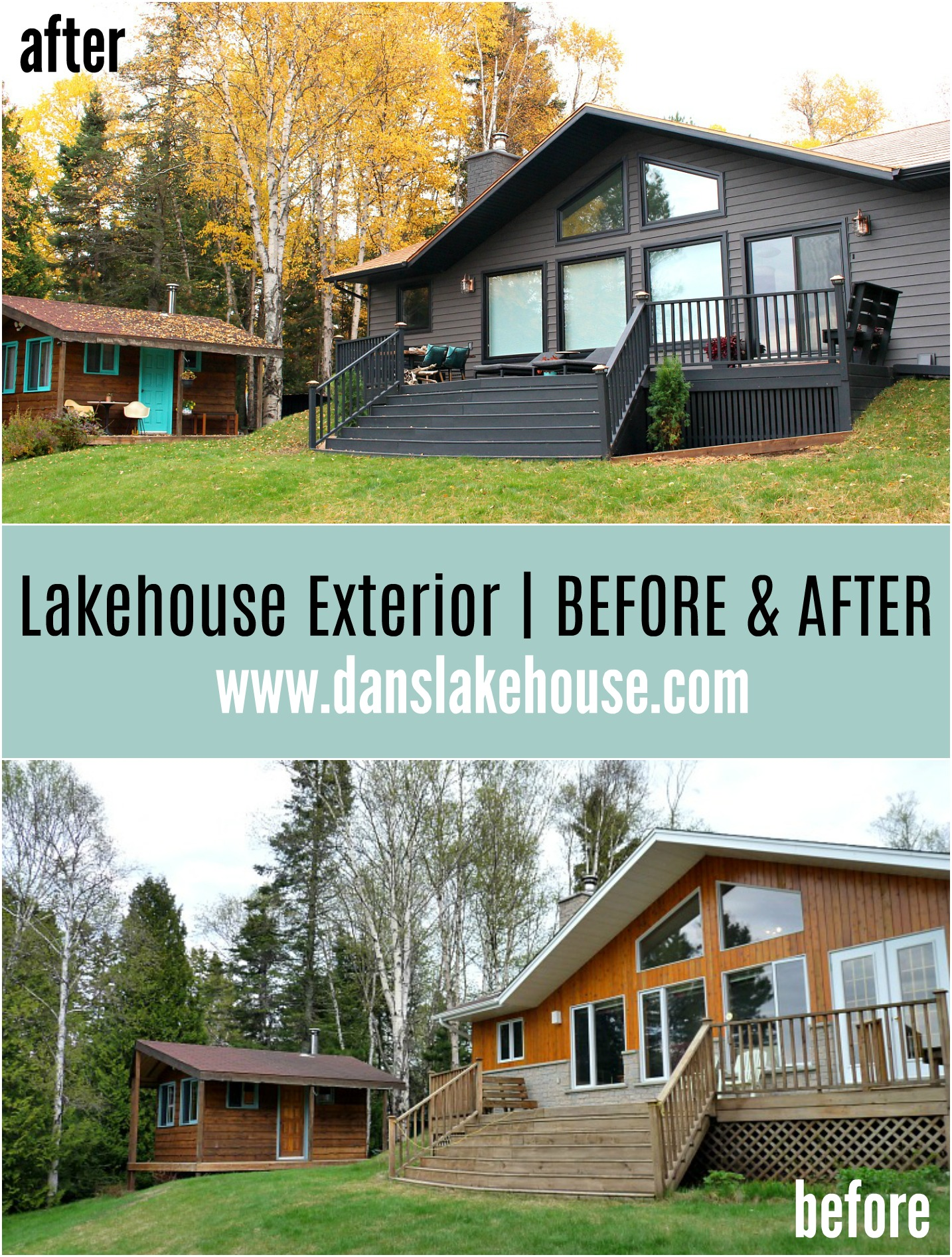 Lakehouse Exterior Transformation Before and After