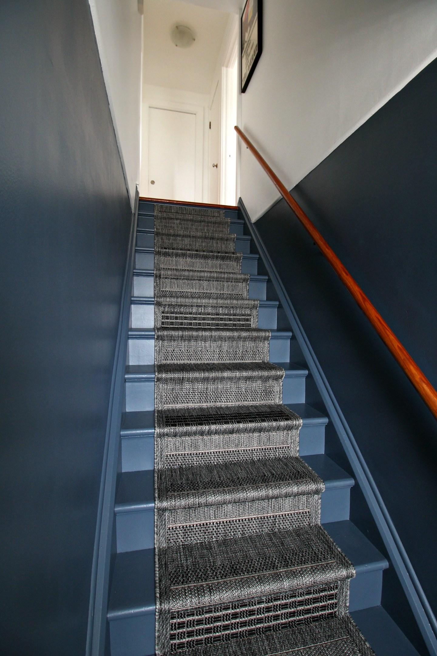 Stairs Painted Behr Calligraphyy Dark Grey