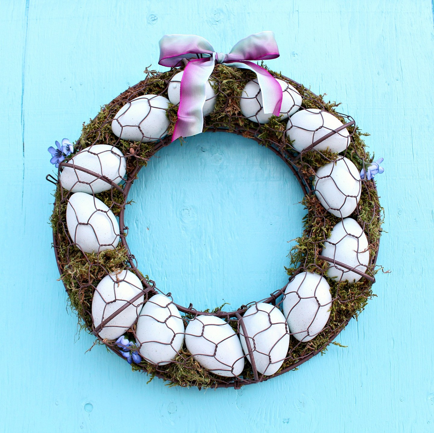 Turquoise Egg Wreath for Spring