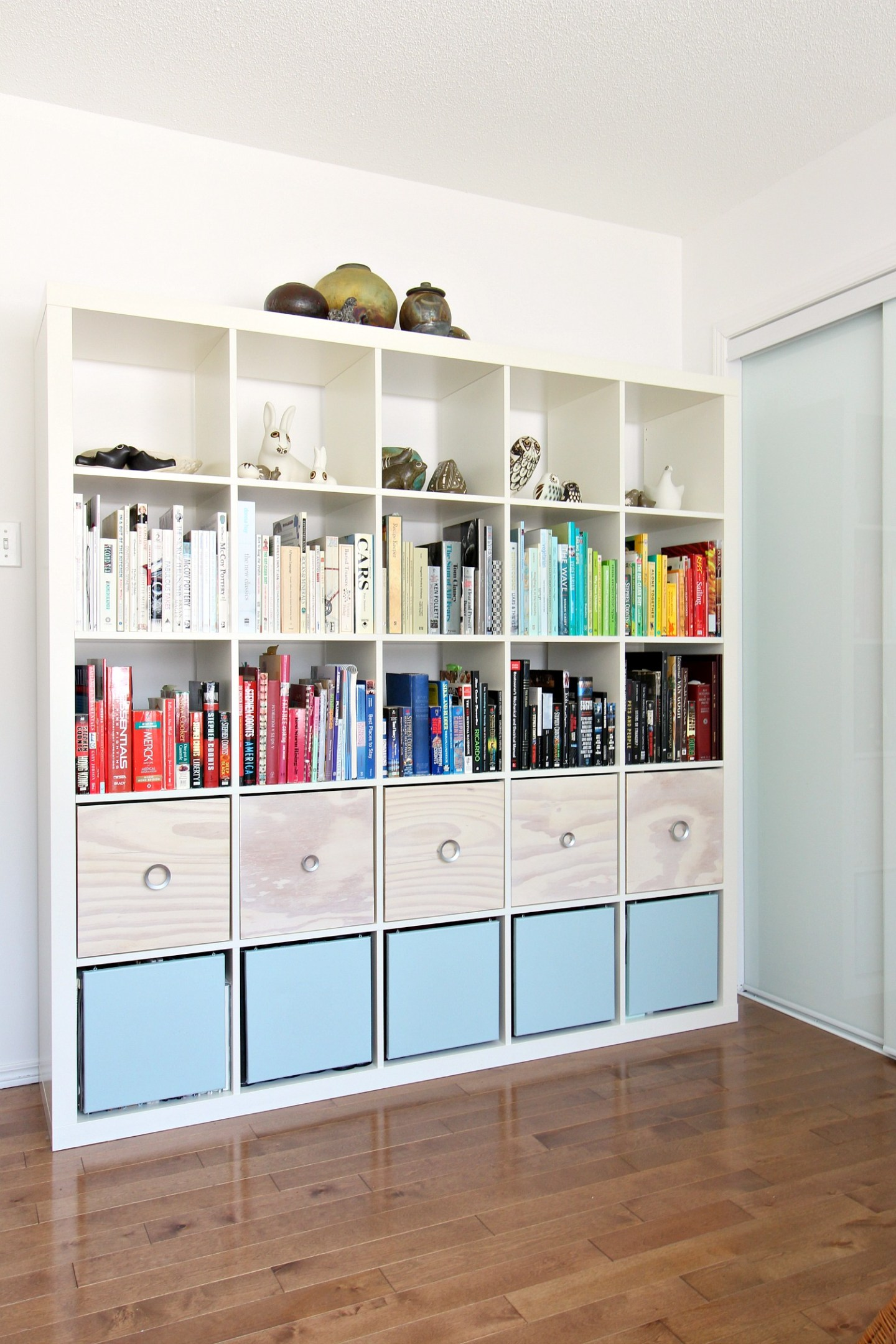 Stled IKEA Expedit Hack with DIY Magazine Holders and Doors