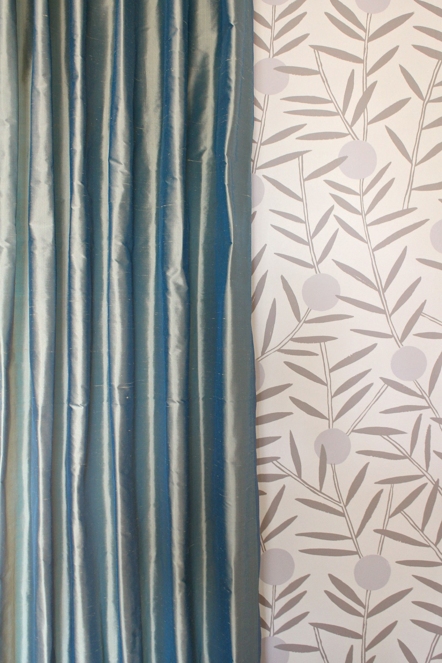Teal green silk curtains