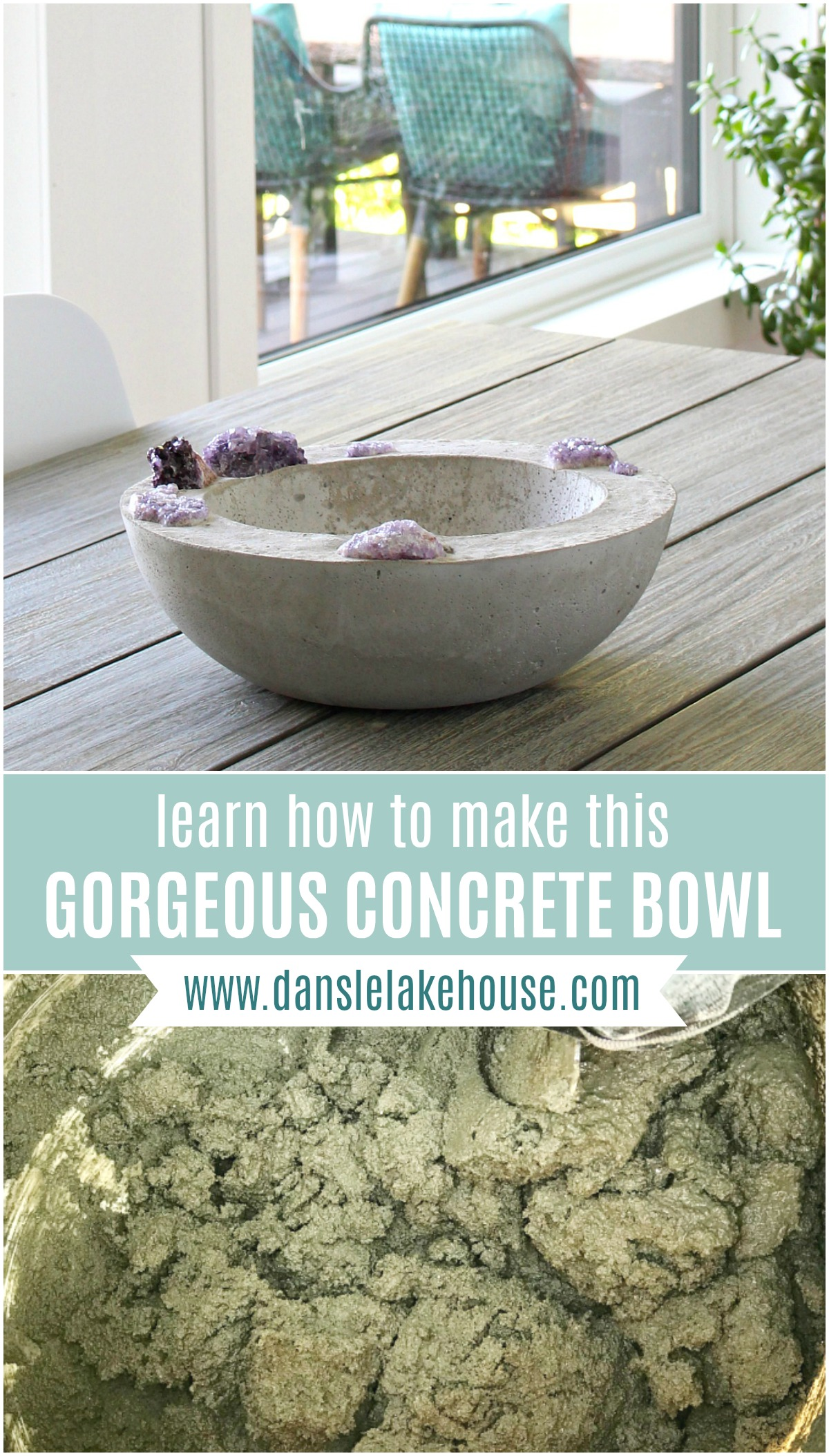 DIY Concrete Bowl with Embedded Amethyst