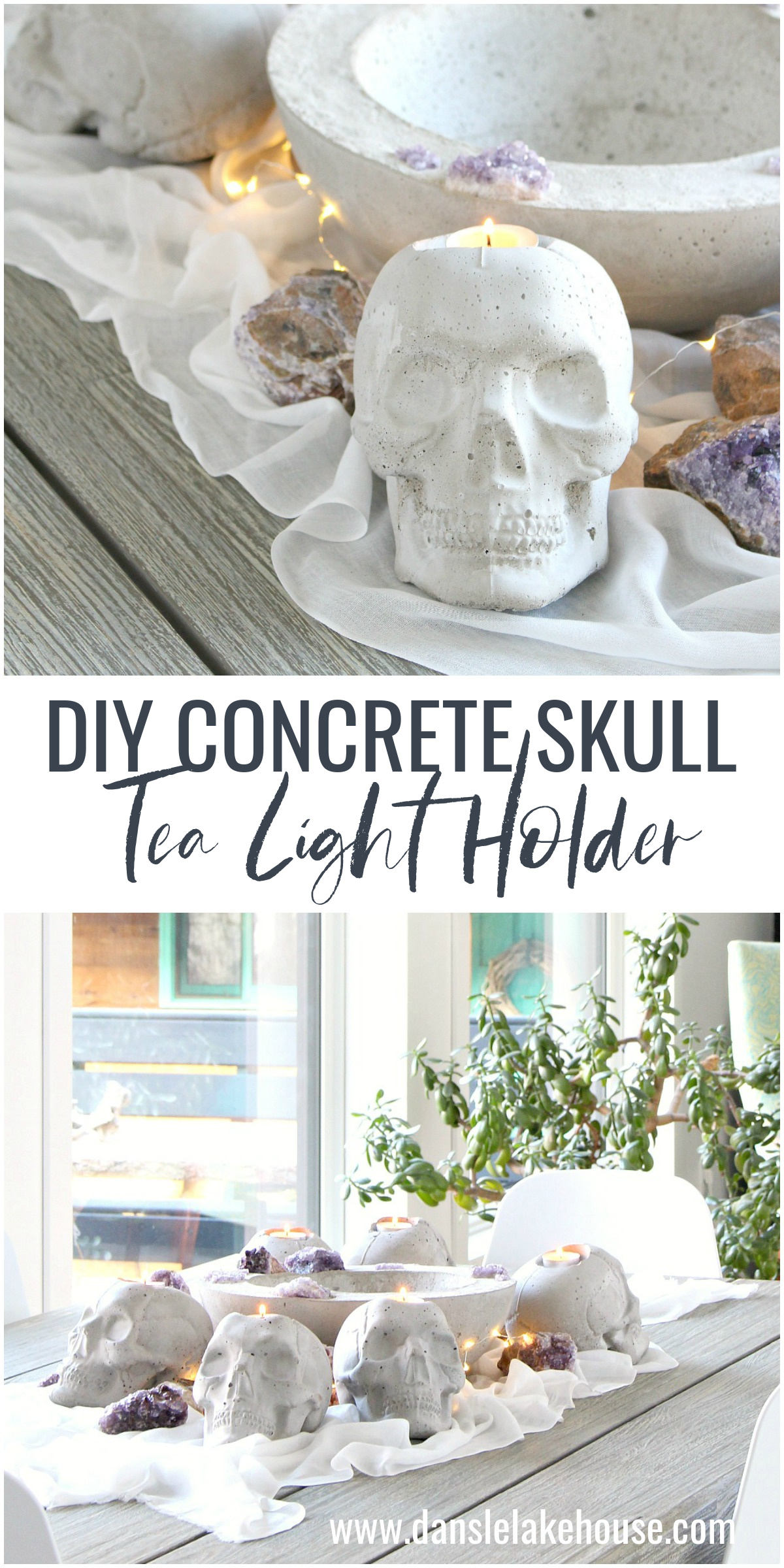 DIY Concrete Skull Candle Holder Tutorial for Halloween Tablescape