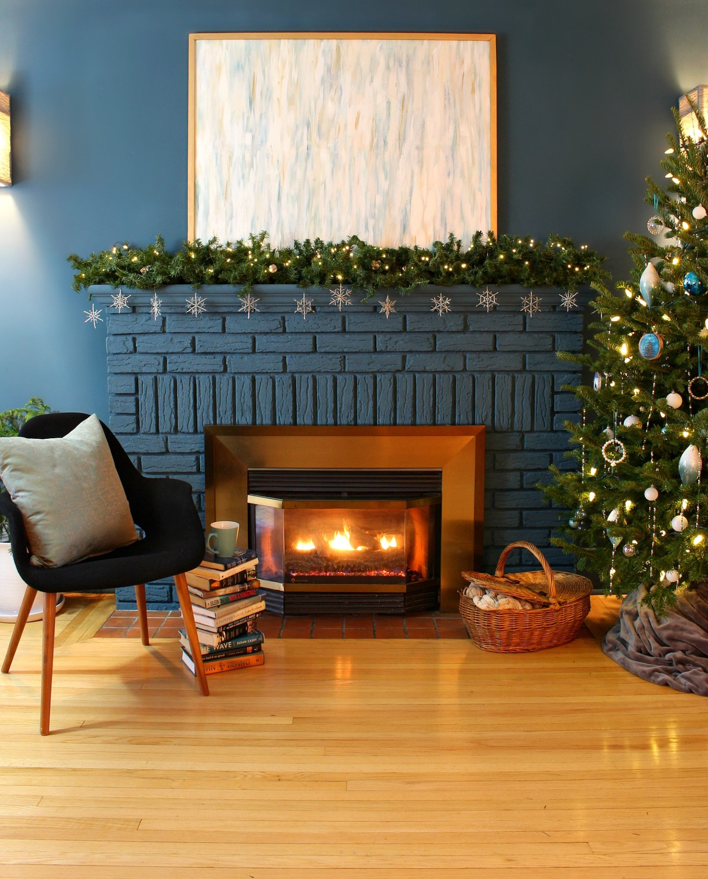 Dark Blue Fireplace with Winter Mantel Decor
