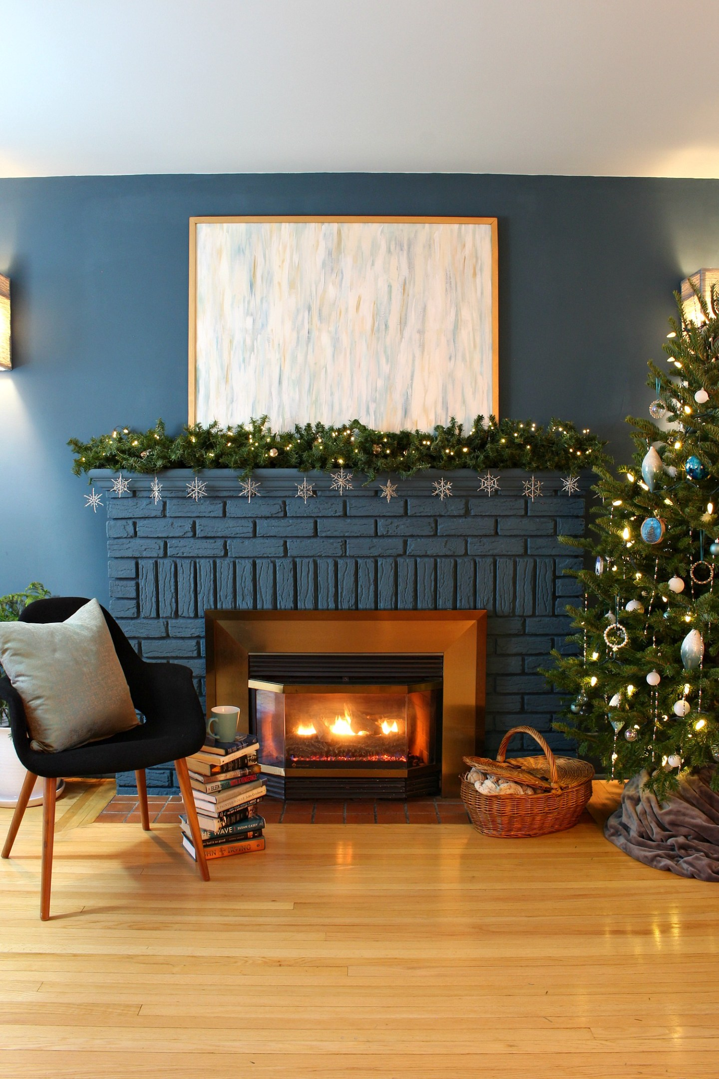 Blue Fireplace with Christmas Garland