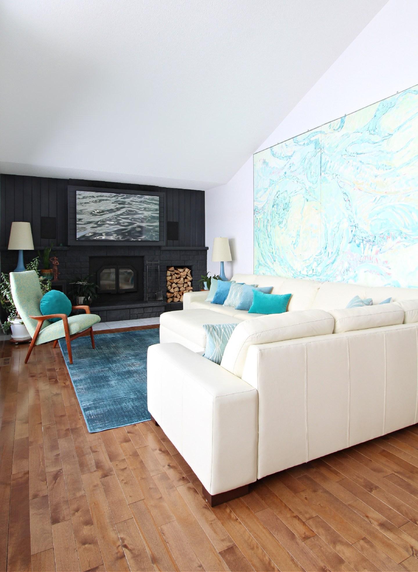 Teal Living Room Makeover