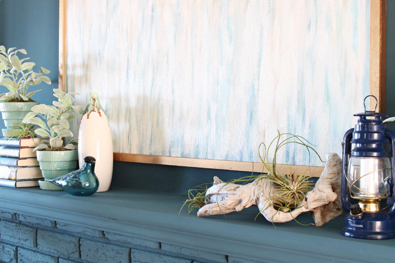 Driftwood mantel decor