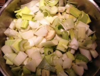 Potage poireaux morceaux légumes